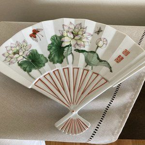 VINTAGE 1980s LOTUS BY TUSCANY FAN TRAY SERVING DISH PORCELAIN FLOWER JAPAN